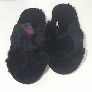Bobbie Brooks Ladies Slippers Sz S (5-6) Black